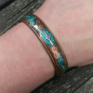 Vintage Turqouise Copper Native Cuff Bracelet